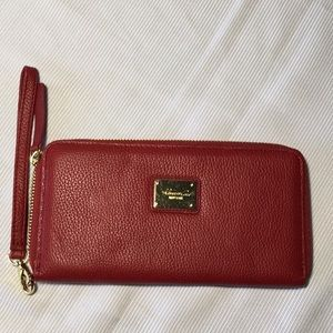 Kenneth Cole Red Wallet Wristlet Clutch Zippered